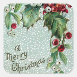 Holly and Mistletoe Vintage Christmas Square Sticker
