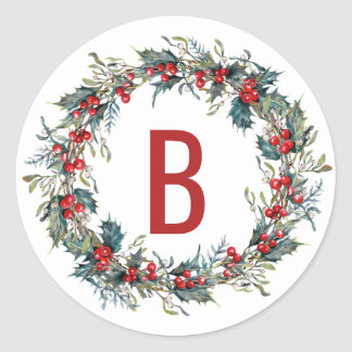 Holly and Mistletoe Wreath Monogram Stickers