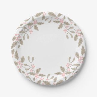 Holly and Mistletoe Wreath Paper Plate blush pink