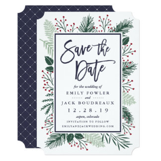 """Holly and Pine Save the Date 5"""" X 7"""" Invitation Card"""