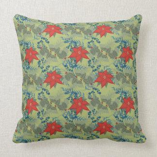 Holly and Poinsettias Throw Pillow