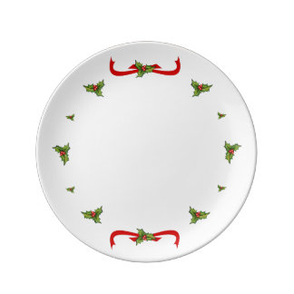 Holly and ribbons of Christmas Porcelain Plate
