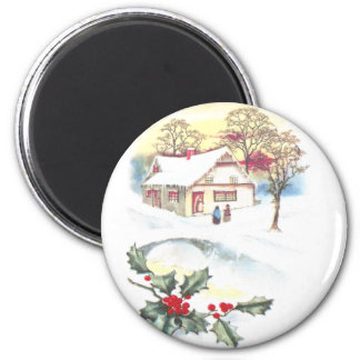 Holly and Snow Covered Scene Vintage Christmas Magnet
