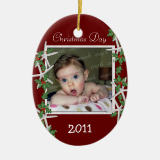 Holly and Starfish Baby's First Christmas Ornament