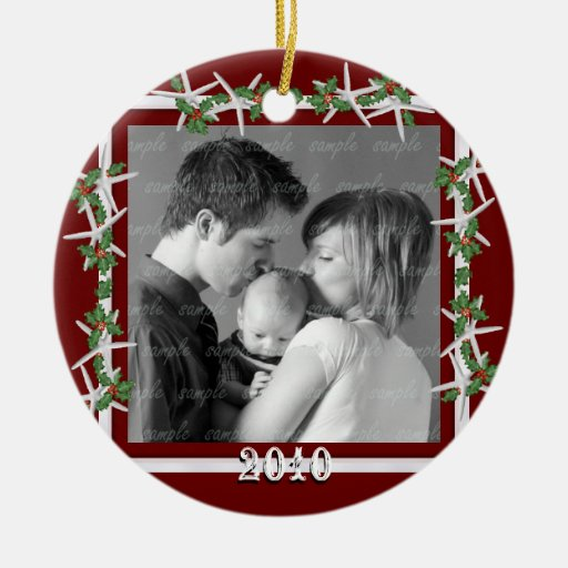Holly and Starfish Red Family Photo Frame Christmas Tree Ornament
