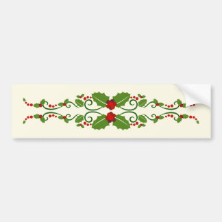 Holly and swirls Christmas Bumper Sticker