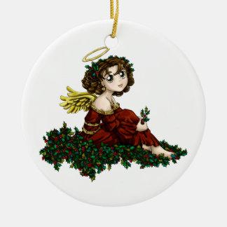 Holly Angel Ceramic Ornament