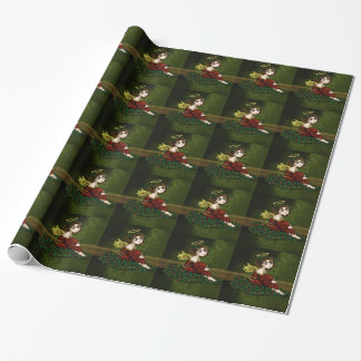 Holly Angel Wrapping Paper