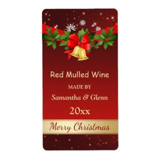 Holly, bells Christmas wine Shipping Label