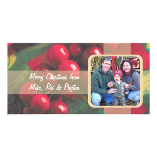 Holly Berries And Ribbon Family Photo Card