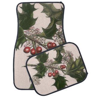 holly berries car mat