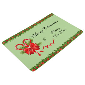 Holly Berries Christmas and Candy Canes Floor Mat