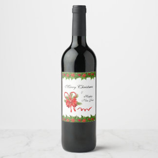 Holly Berries Christmas and Candy Canes Wine Label