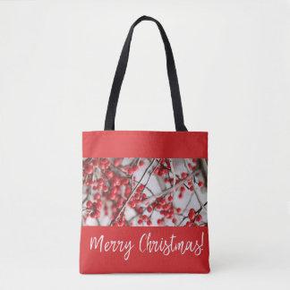 Holly Berries Christmas Tote Bag