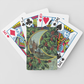 Holly Berries & Crescent Moon Bicycle Playing Card