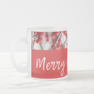 Holly Berries Frosted Mug