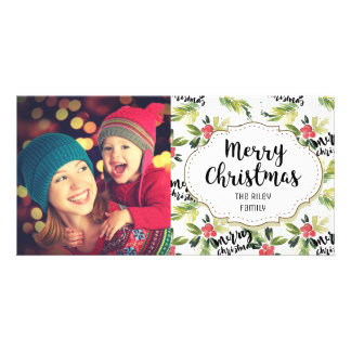 Holly Berries Pattern Christmas Picture Photo Card