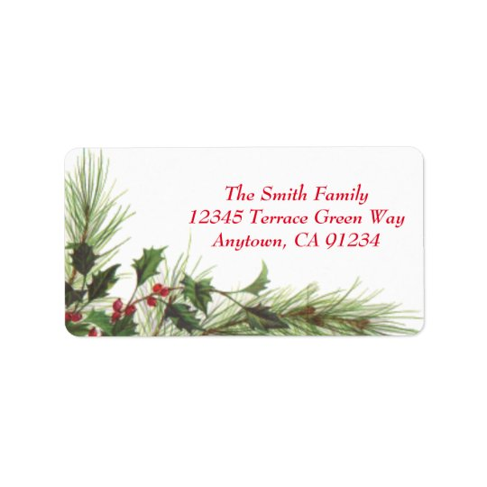 Holly Berries & Pine Custom Holiday Address Labels