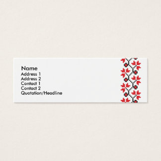 Holly Berries Red flower cross-stitch design Mini Business Card