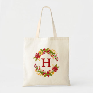 Holly Berries Wreath Monogrammed Tote Bag