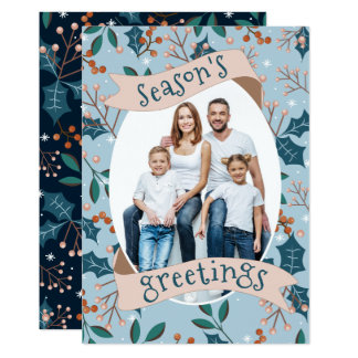 Holly Berry Blue Modern Season's Greetings Card