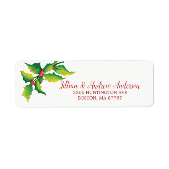 Holly Berry Christmas Address Label