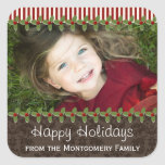Holly Berry Christmas Photo Present Gift Labels Square Stickers