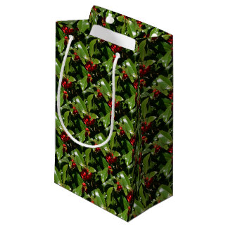Holly Berry Christmas Wrapping Paper Small Gift Bag