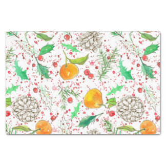 Holly Berry Cranberries Tangerine Watercolor Fruit Tissue Paper