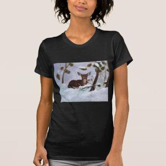 Holly Berry Deer Ladies Tshirt
