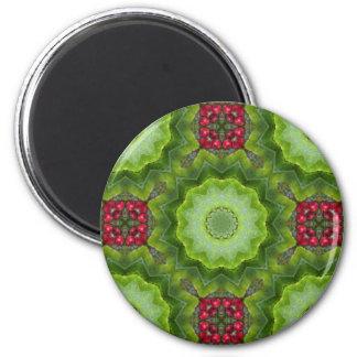 Holly Berry Kaleidoscopic Mandala Design 2 Inch Round Magnet