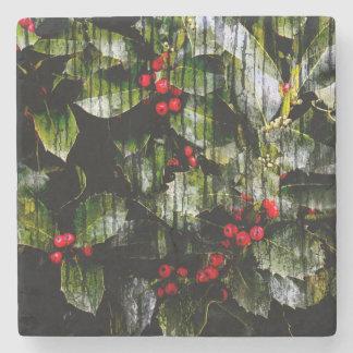 Holly Berry Marble Coaster Stone Coaster