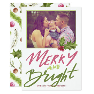 Holly berry merry & bright pink green script photo card