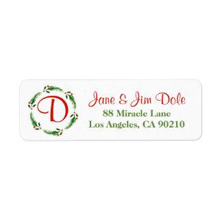 Holly Berry Mistletoe Wreath Christmas Holiday 2 Return Address Label