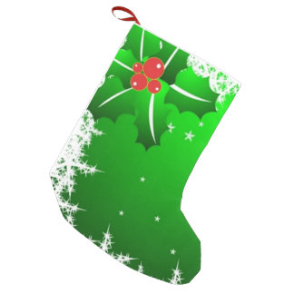 Holly Berry on Ice Small Christmas Stocking