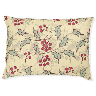Holly berry pattern design pet bed