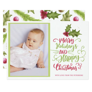 Holly berry pink green Merry Christmas photo Card