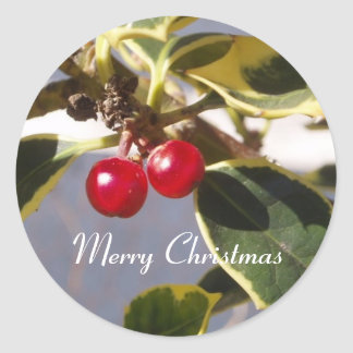 Holly & Berry Round Sticker