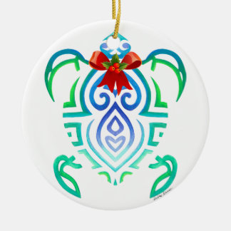 Holly Berry Turtle Ceramic Ornament