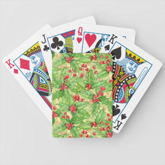 Holly berry watercolor Christmas pattern Bicycle Playing Cards