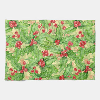 Holly berry watercolor Christmas pattern Kitchen Towel