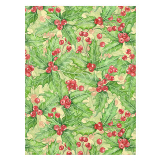 Holly berry watercolor Christmas pattern Tablecloth