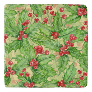Holly berry watercolor Christmas pattern Trivet