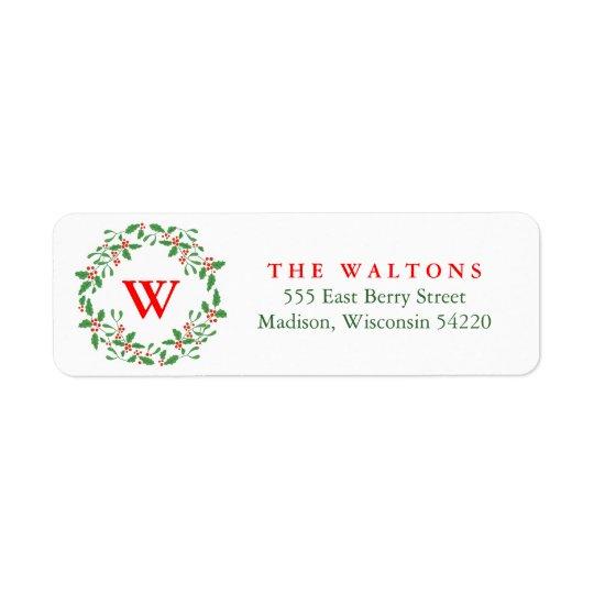 Holly Berry Wreath return address label