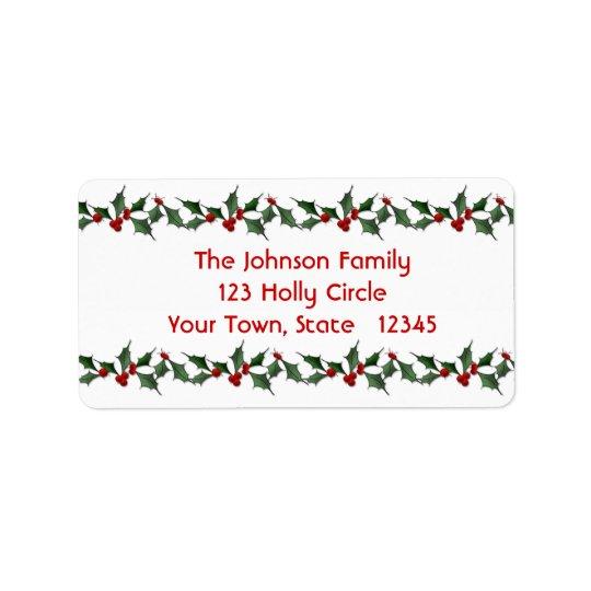 Holly Border Address Label