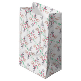 holly branch wrapping small gift bag