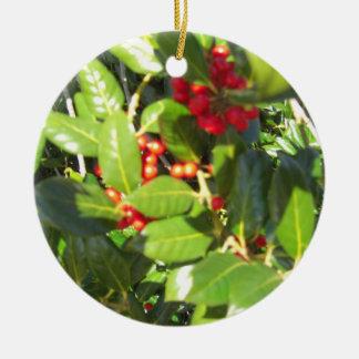 holly bush round ceramic ornament