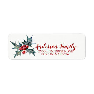 Holly Christmas Address Label