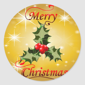 Holly Christmas Card Design Classic Round Sticker