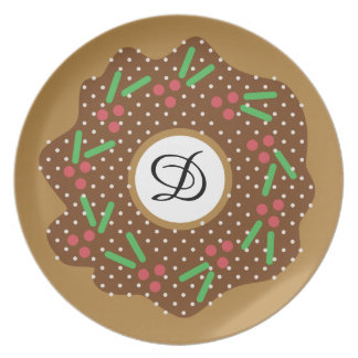 Holly Christmas Donut Red + Green Sprinkles Iced Plate